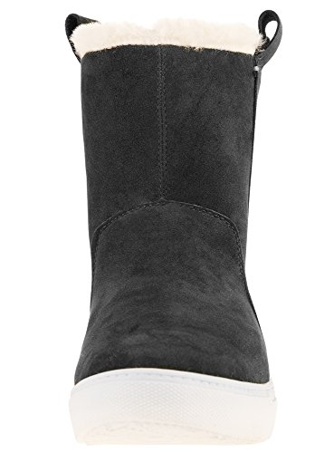 oodji Ultra Femme Chaussures Chaudes Doublées de Fausse Fourrure Noir (2900N)