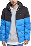Urban Classics Herren Winterjacke Daunenjacke Hooded 2-Tone Puffer Jacket, Steppjacke gefüttert, mit Kapuze, brightblue/blk, M