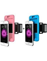 "2 Brassard Portable Sport iPhone 7 Rose et Bleu, Aeeque® Mode Brassard Smartphone iPhone 7 4.7"" Coque en Silicone avec Sécurité Reflechissant Running Vélo Escalade Basket pour Téléphone Portable"