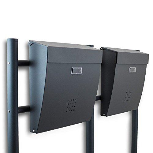 BITUXX® Freistehender Doppelstandbriefkasten Briefkastenanlage Briefkasten Einwurf oben Dunkelgrau Anthrazit
