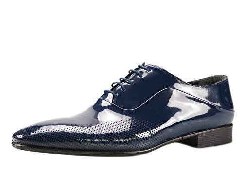 CAPRIUM Lackschuhe Derbyschuhe Schuhe Business Glänzend, Herren E1526 Schuhgröße 44, Farbe Dunkelblau