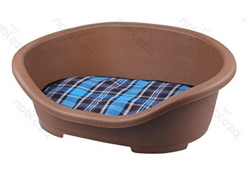 FORPET® 002658 Cuccia lettino rigido per cani con materasso, cuccia per cane con materasso, cuscino per animali, lettino per cane con cuscino, Marrone con cuscino a scacchi 47.5x34x18cm