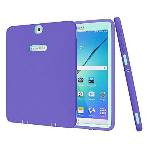 Galaxy Tab S29,7Case, beimu 3in 1Stoßfest Heavy Duty Rugged Hybrid Armor Defender Schutz Cover für Samsung Galaxy Tab S224,6cm sm-t810/T815/t813N/t819N, Purple+Teal