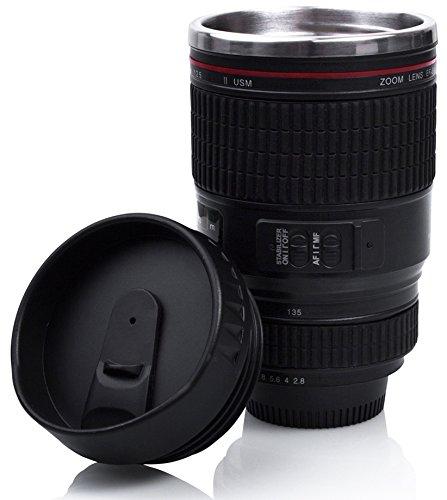 Grinscard Kaffeebecher Drink & Go Deckel - Schwarz Digitalkamera Design 0,35l - Gadget Thermotasse für Unterwegs Vakuum-objektiv