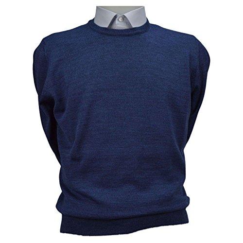 Maglione uomo pullover paricollo misto lana merinos extrafine iacobellis made in italy xxl 52 azzurro
