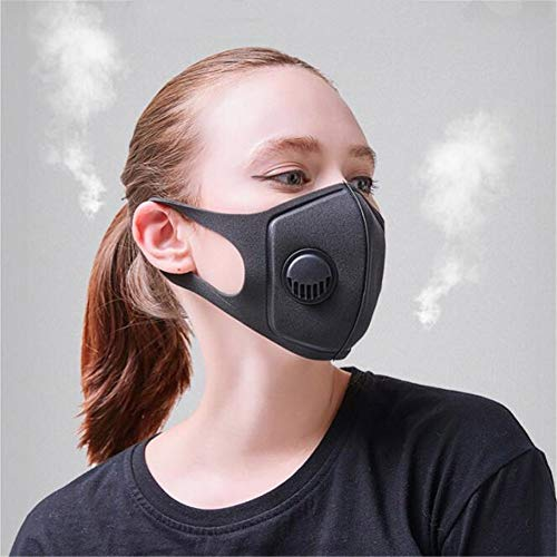 Kasfam Máscara Facial, máscara de carbón Activado Anti PM2.5 Máscaras de Filtro con válvula de respiración 3.0 para Ciclismo MTB