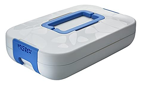 ENJOY* CHEF CARRIER INSULATED FOOD SERVER WITH OVENPROOF GLASS DISH 2.8 L - WHITE WITH BLUE HANDLES