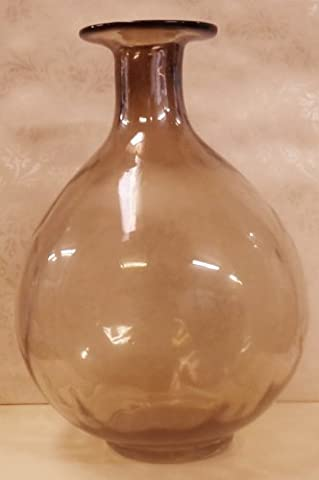 Large Smoked Glass Pot Belly Vase - decorative grey smoked glass