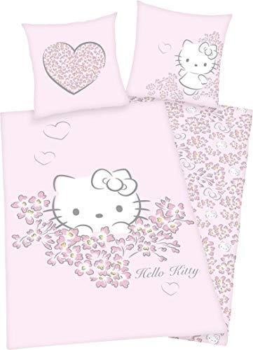 Golden Lutz® - Hello Kitty Renforcé Bettwäsche, 100% Baumwolle (135 x 200 cm, Blumen, Herzen, weiß rosa grau)