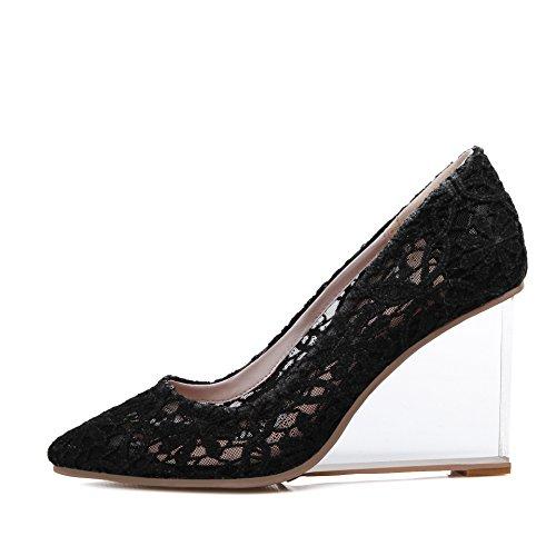 WSS chaussures à talon haut NET filé avec sexy dentelle Europe transparente avec Crystal avec santals de haut talon femmes chaussures Black