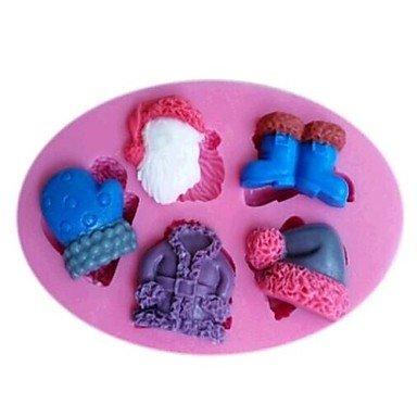 HuaJing claus vestiti guanti scarpe cappello torta fondente strumenti di decorazione del cioccolato del silicone della muffa della torta, l11cm * w7.5cm *