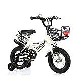 FINLR-Kinderfahrräder Jungen-Mädchen-Baby Kinderfahrräder Kinder Pedal Fahrrad 4 Farben 12/14/16/18/20 Zoll  Mit Flaschenhalterstabilisatoren Und Korb (Color : White, Size : 20 inches)