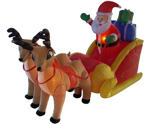 6' Santa (6 Foot Long Christmas Inflatable Santa Claus on Sleigh with Reindeer Decoration by BZB Goods)