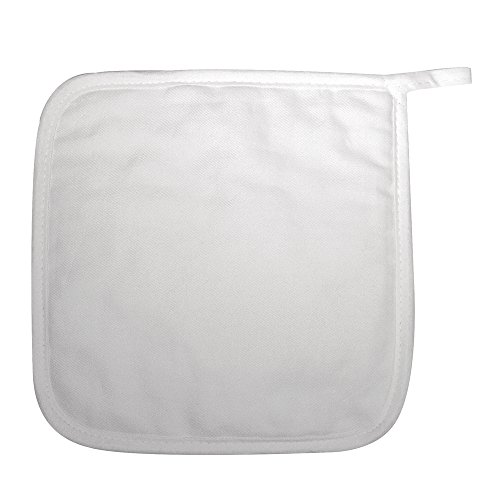 Rayher Hobby 3833600 Topflappen, weiß, quadratisch, 19 x 19 cm, 2 Stück (Topflappen, Geschirrtücher)