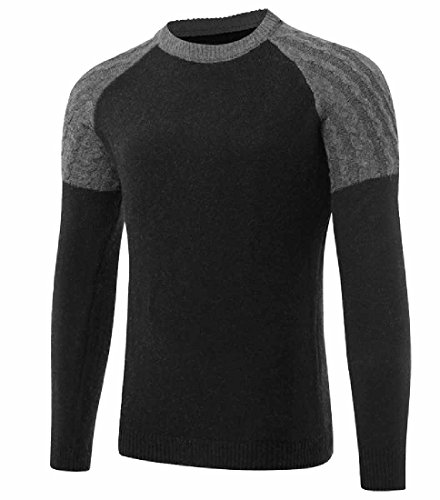 Tootlessly Mens Knit Long Sleeve Contrast Crew Neck Casual Knitwear