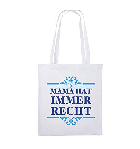 Buste Comedy - La Mamma Ha Sempre Ragione - Borsa Di Juta - Manico Lungo - 38x42cm - Colore: Rosso / Rosa-bianco Bianco / Blu Reale-azzurro