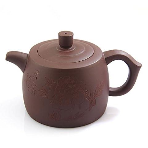 270ml Violet fait main chinoise Yixing argile poterie zisha Pivoine Fleur Théière FM07