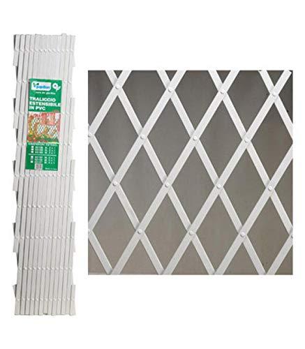 PAPILLON 8091550 Celosía PVC Blanca Extensible, 37 X 2 X 128 Cm