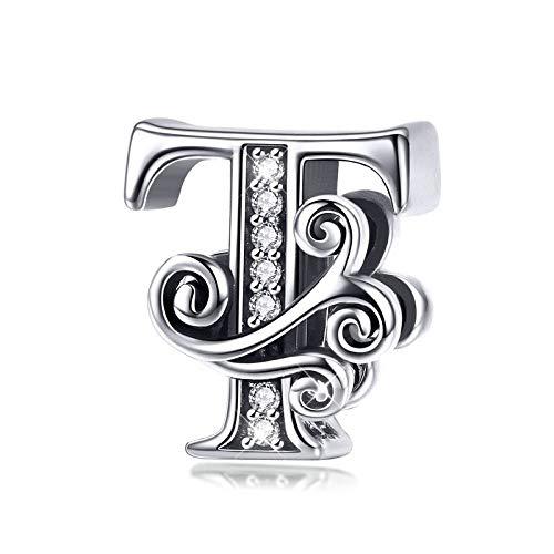 Buchstabe T Charm-Perle für Armband/Halskette, 925er Sterlingsilber, Zirkonia, personalisierbar, Geschenk für Männer und Frauen