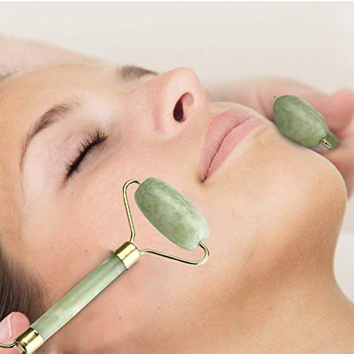 SHAFIRE Jade Roller Massager/Slimming Tool for Face, Neck and Head (Green)