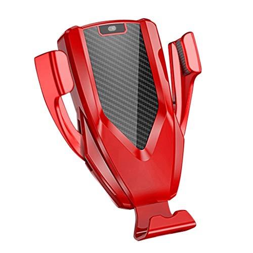 Sisit 360 drehbar verstellbarer 2-in-1-M8-Smart-Induktions-Telefonhalterung Schnelle, kabellose Qi-Autoladehalterung für das iPhone für 3,5- bis 6,5-Zoll-Mobiltelefone (Rot) (Entsperrt Iphone 6 Handys)