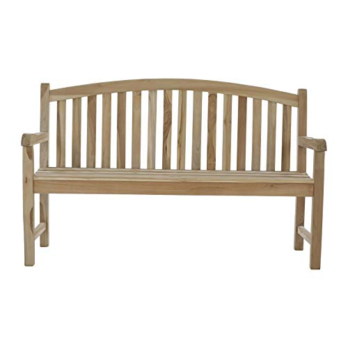 MACOShopde by MACO Möbel 3 Sitzer Gartenbank Ela aus massivem Teakholz 150 cm – Sitzbank mit Abgerundeter Rückenlehne und Armlehnen