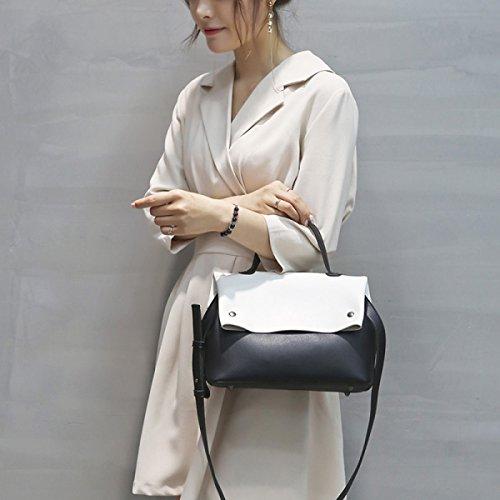 QPALZM Frauen Handtaschen Umhängetaschen Tote Top-Griff PU Ledertaschen Mode Quasten Black