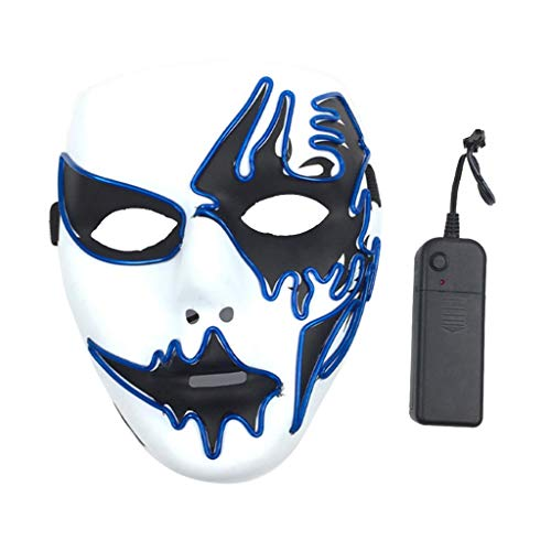 Mann Kostüm Blues - chenpaif Panic LED Maske Purge Wire Leuchten Masken Halloween Party Cosplay Kostüm Festival Decor für Männer Frauen Deep Blue