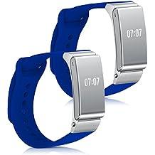 kwmobile 2en1: 2x Correa de repuesto para Huawei Talkband B2 en azul Dimensiones interiores: approx. 14 - 18 cm - banda de silicona sin Fitness Tracker