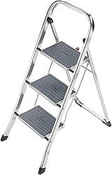 Hailo K30 StandardLine Alu-Trittleiter, 3 Stufen, Klappsicherung, besonders leicht, einfach zu verstauen, belastbar bis 150 kg, silber, 4393-801