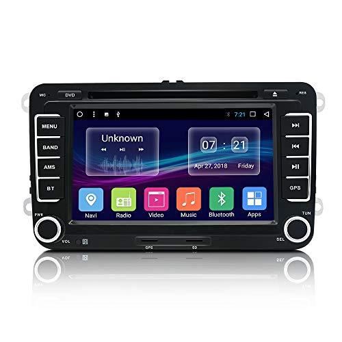 7 Zoll Autoradio Doppel Din Android 7.1 für VW Skoda Seat mit GPS Navi Navigation Bluetooth,Mirrorlink,FM/AM/RDS Radio Unterstützung Rückfahrkamera Karte permanent kostenloses Update