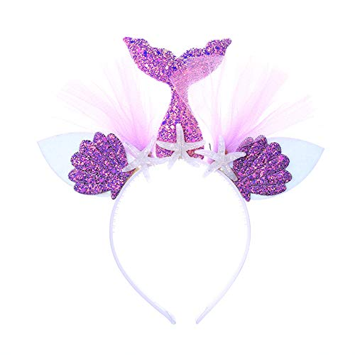 Diadema sirena orejas flor purpurina niños, niños