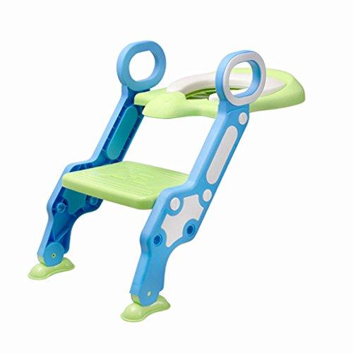 LI JING SHOP - Échelle pliable de toilette de salle de bains antidérapant Bottom pour l'enfant PP Material 44.5X41cm Couleur: Bleu + Stuffy Nose + Green