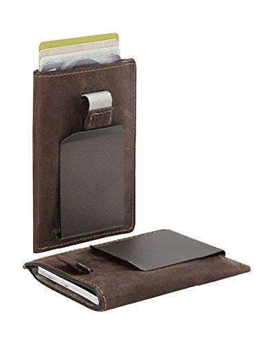 Geldklammer und Kreditkartenetui in einem Produkt I 2-IN-1: Geldclip und Kartenetui mit RFID Schutz I echtes Leder I Kartenhalter für 8 Karten I abnehmbare Geldscheinklammer (braun)
