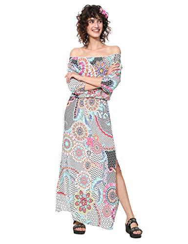 Desigual Damen Kleid Dress 3/4 Sleeve DERA Woman White, Weiß (Blanco 1000), 46