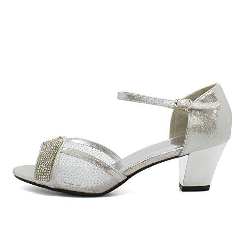 London Footwear ,  Damen Knöchel-Riemchen Silber