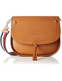 Tommy Hilfiger City Leather Saddlebag Corp, Sacs bandoulière femme, Braun (Cognac), 6x17x20 cm (B x H T)
