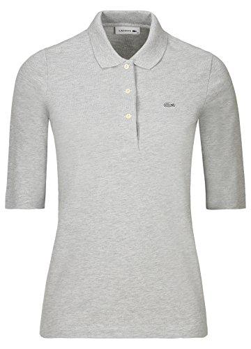 Lacoste PF5381 Klassisches Damen Polo, Polohemd, Polo-Shirt mit 3/4 Arm, Kurzarm, Regular Fit, für Freizeit und Sport, 100% Baumwolle Grau (Silver Chine CCA), EU 42 -