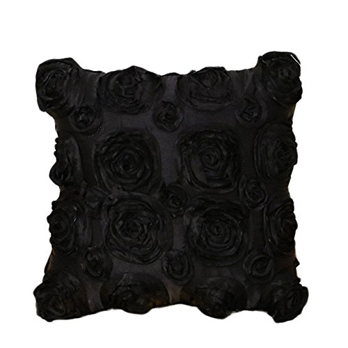 CAOLATOR Blumen-Design Baumwolle Kissenbezug Kreativ 3D Rose Kissenhülle Kissen Fall Sofa Lendenkissen Kaffee Room Wohnkultur Dekorative Kissenbezug 40 * 40cm (Schwarz) 3d-fall