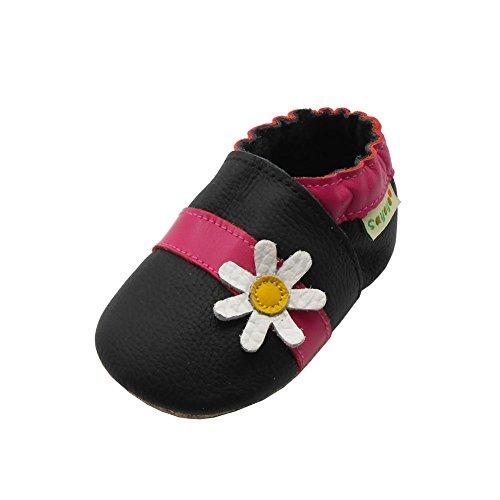Sayoyo Chrysanthemum bébé en cuir souple Chaussons Bébé Chaussures pour  filles(Noir, 24-36 mois)