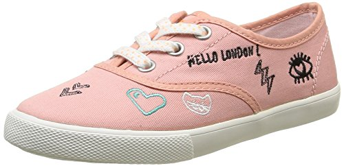 Pepe Jeans Soho Draw - Low-Top Sneakers Fille, Rose (Island/330), 8.5 Child