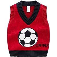 ZJEXJJ Chaleco de Jersey de Jersey de algodón Adecuado para 2-7 años de Edad (Color : Red, Tamaño : 100cm)