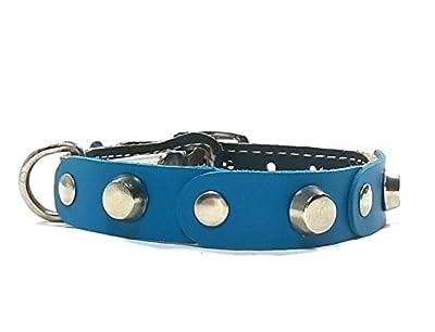 Design Katzenhalsband mit Sicherheitsverschluss | Schönes Blau Braun Leder mit Nieten