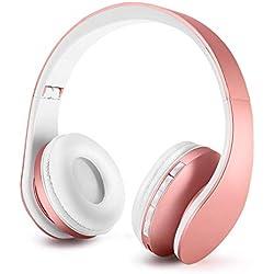 Casque pour Enfant, Ecouteurs sans Fil avec Microphone pour Enfants, Casque et Ecouteurs Bluetooth sans Fil, Oreillette stéréo Bluetooth Pliable pour Enfants, Casque-Or Rose