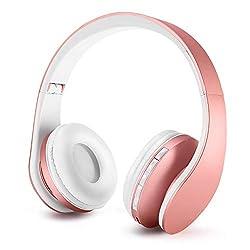 ZAPIG Premium Kinderkopfhörer, Bluetooth Kopfhörer für Kinder mit Gehörschutz, Leichte Kinder Kopfhörer mit Faltbare Kopfband, Rosa Gold