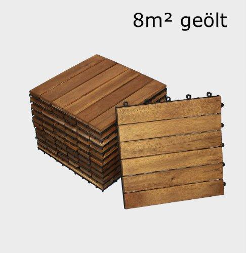 SAM® Terrassenfliese 01, Holz-Fliese aus Akazie, geölt, 88 Fliesen für 8 m², 30x30 cm, Garten-Fliese, FSC® 100% zertifiziert, Bodenbelag mit Drainage, Klick-Fliesen für Balkon Garten Terrasse