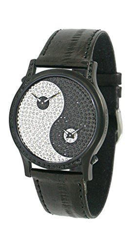 Moog Paris Ying Yang Damen Uhr mit Schwarzem und Weißem Zifferblatt, Swarovski Elements & Schwarzem Armband aus Aal Haut - M44382-004 (Haut Schwarz Aal)