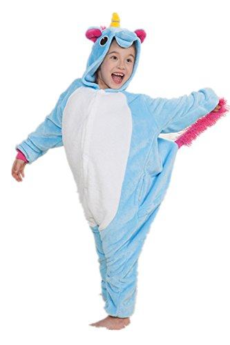 Kenmont Déguisement Combinaison Licorne Pyjama Grenouillère Enfants Animal Pyjamas Costume à capuche Halloween Carnaval Noël Fête Tenue (Taille 105(Hauteur 120-130cm), Blue)