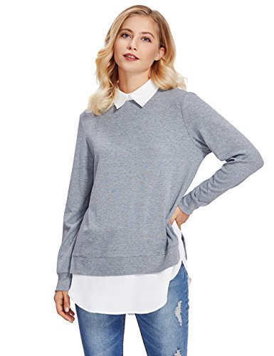 ROMWE Damen 2-in-1 Langarm Bluse mit Kontrastfarbe Herbst Winter Langarmshirt Pullover Hell Grau L