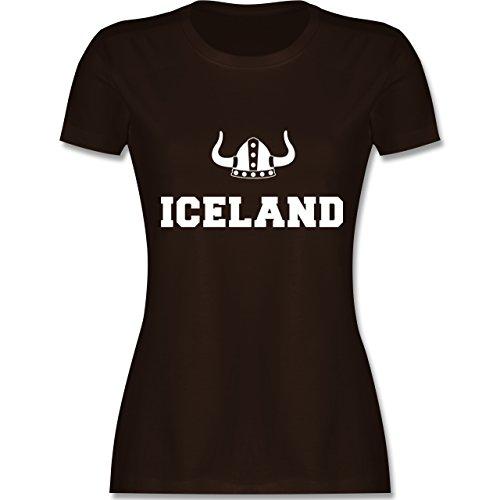 Shirtracer Länder - Iceland + Wikingerhelm - Damen T-Shirt Rundhals Braun